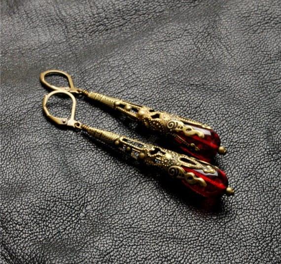 Red Earrings Victorian Steampunk Earrings Antique Brass Red Dangle Earrings Victorian Romantic Steampunk Jewelry By Victorian Curiosities