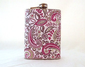 Bridesmaid Pink Paisley Flask, Stainless Steel 6 oz Hip Flask, Gifts for Women