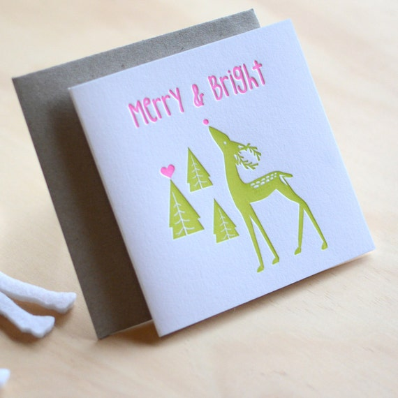 Letterpress Christmas card, Merry & Bright Christmas Candy. Rudolph, Christmas pine trees, In fluoro pink and neon green Made in Australia