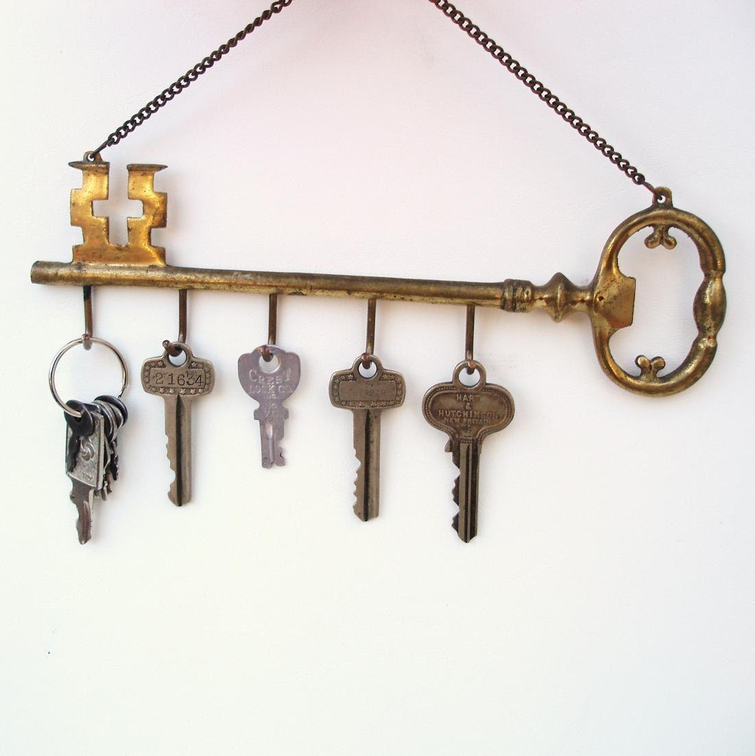 Vintage Wall Hanging Key Rack Brass Key Holder Large Skeleton