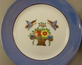 Noritake Four Piece Plate Set Butterfly and Floral Motif Early 1920s signed