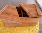 Handcrafted Swivel Top Mesquite Jewelry/Keepsake Box with Inside Tray & Divider