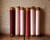 Vintage Extra Large Wood Thread Spools with Yarn and String - Pink, Rose and Burgundy