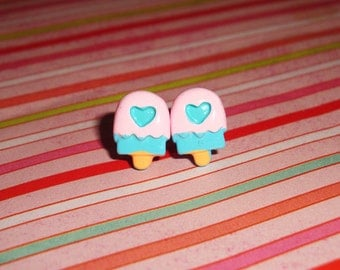 Tiny Cotton Candy Ice Creamsicle Pops Earrings