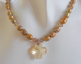 Topaz Swarovski Crystal Cross with Bronze Pearls