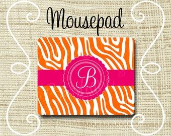Custom Personalized Mousepad Mouse Pad Zebra Orange & Fuchsia or Any Color(s)