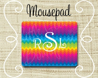 Custom Personalized Mousepad Mouse Pad Chevron Rainbow or Any Color(s)