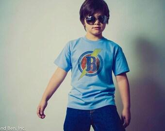 Back to School - Monogrammed Superhero T- Shirt - Letter B Superhero Shirt - Superhero themed birthday -Letter B -Vintage Distressed Graphic