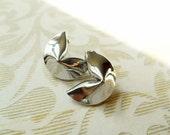Fortune Cookie Earrings Vintage Silver