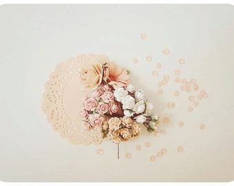 Mixed Sample Pastel peach Mulberry paper flower and peach doily paper combo / pack