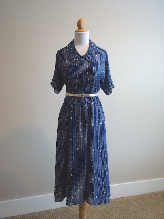 vintage dress / 1950s WWII Blues dress / Mad Men dress