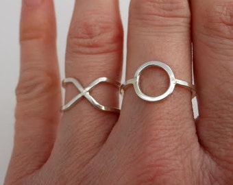 Hugs & Kisses XO Ring Set Sterling Silver or 14k Gold Filled