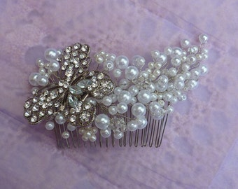 Stunning Bridal hair comb:50% OFF Flight of the butterfly with rhinestone butterfly, white faux pearls and Swarovski crystals