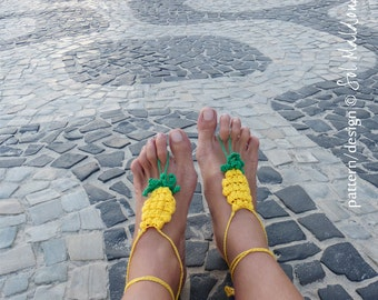 Crochet Pattern Barefoot Sandals Pineapple PDF - sandles, nude shoes - Instant DOWNLOAD