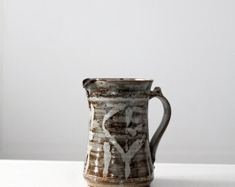 signed studio pottery, vintage gray ceramic pitcher, 70s pottery