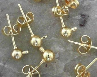 R E D U C E D --- Brass 4mm Golden Colour Post Ear Studs w/ Ear Nuts                   CC-90138