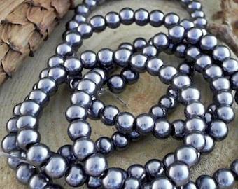 Dark Slate Gray Pearlized 6mm Round Glass Beads                 CC-90234