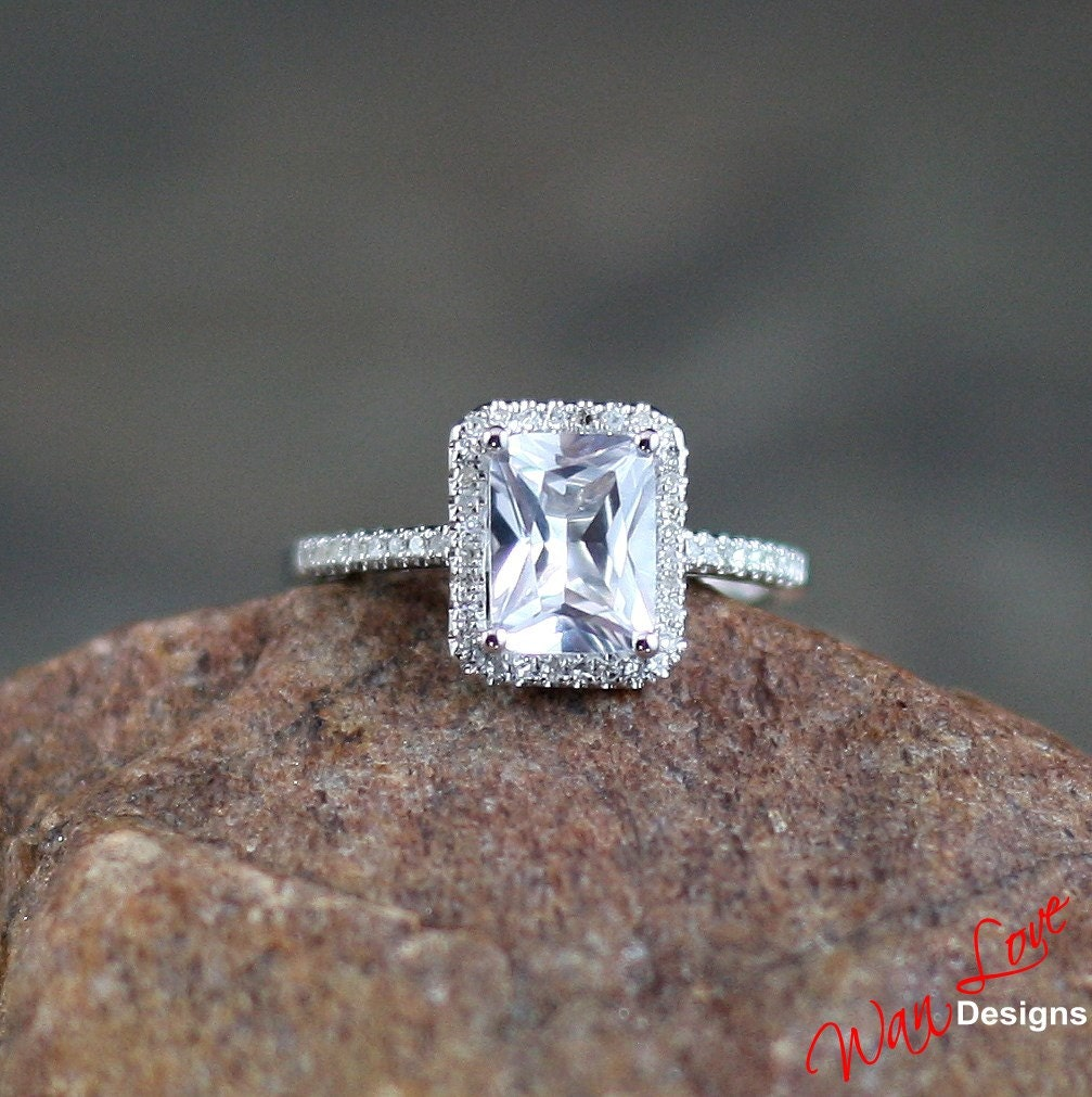 White Sapphire & Diamond Emerald cut Halo Engagement Ring 2ct