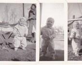 Playtime Baby- 1930s Vintage Photographs- SET of 3- Cute Boy in Playsuit- Children's Fashion- Found Photos- Snapshots- Paper Ephemera