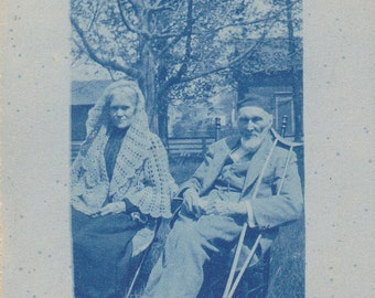 Cobalt Creaky- 1900s Antique Photograph- Cyanotype RPPC- Real Photo Postcard- Old Timer Blues- Elderly Couple- Walking Crutch-  Ephemera