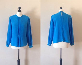 vintage 1980s PETITE NOTIONS blue pleated front blouse. UK 10-12