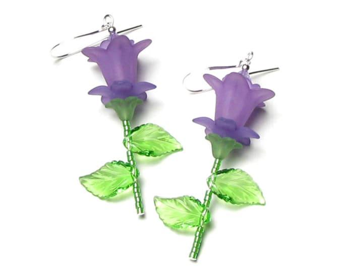 Purple Lily Earrings, Lilac Lily Flower Swarovski Crystal Silver Dangle Earrings, Romantic Jewelry, Lavender Flower Garden Crystal Earrings