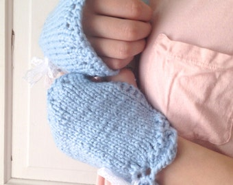 Blue Organic Cotton Wrist Warmers with Lace Bow