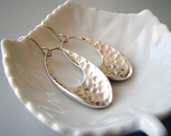 Oval Hoops, hammered silver tone  hoop earrings with sterling silver  earwires