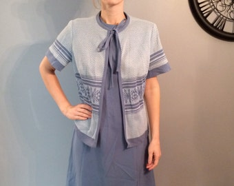 1970s Mod Mad Men 2 piece Scooter Shift Dress with Matching Cover Up