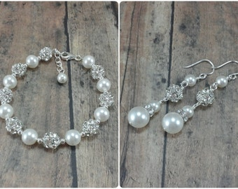 Bridal Bracelet and Earring Set, Pearl Jewelry, Wedding Jewelry Set, Pearl Bracelet Set, Wedding Earring Set, Pearl Bridal Jewelry