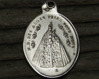 """OUR LADY of ANGELS Sanctuary Vintage Religious Medal on 18"""" sterling silver rolo chain"""