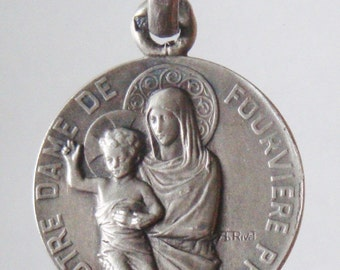 "Our Lady of Fourviere Vintage Sterling Religious Medal on 18"" sterling silver rolo chain"