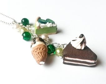 Mini Food Necklace ( cake necklace food pendant cake charm necklace kawaii polymer clay food jewelry ice cream necklace green necklace )