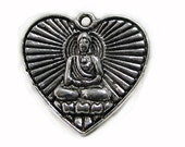 Charms : 10 Oxidized Silver Double Sided Buddha Heart Charms   Antique Silver Yoga Meditation Heart Pendants - Lead & Nickel Free 122968.J4G