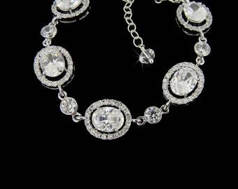 Crystal Bridal Bracelet, Crystal Wedding bracelet, Swarovski Crystal, Rose Gold, Wedding Jewelry, Bridal Jewelry,  Chelsea Bracelet