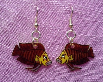 Altolamprologus Compressiceps (African Cichlid fish) Dangle Earrings