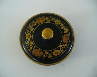 Vintage Black Lacquered Round Box Containers Small Black Dish  Lid Small Asian Bowl Hand Paint Accents YourFineHouse Hand Painted Japanese