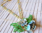 Flowers & Crystals Assemblage Necklace, Pastel Blue, Upcycled Vintage, Retro Style
