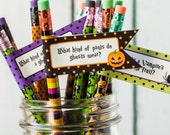 Printable Halloween Pencil Flags: Non-Candy Treat for School or Trick or Treating