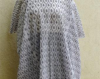 Guatemalan Huipil Tunic superfine cotton gauze white black - large - Frida - Resort Boho style - LRG