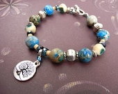 Tree of Life charm bracelet of blue jasper & silver in blues, ivory and tan // gemstone jewelry // inspired by nature