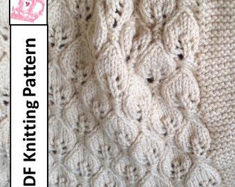 Baby Blanket Knitting Pattern, PDF KNITTING PATTERN -- Leaves Baby Blanket