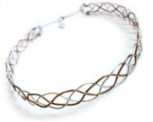 Celtic Braid Headband Circlet - Two Tone Silver and Bronze Aluminum Wire Headpiece - Medieval Renaissance Elven Crown