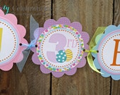 Personalized Happy Birthday Banner -Pastel Easter Collection -Birthday Banner -Easter Bunny Banner -Easter Eggs -Baby Shower