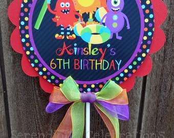 Personalized Large Centerpiece -Monster Pool Bash -Birthday -Baby Shower -Dessert Table -Table Decoration -Photo Prop -Pool Party