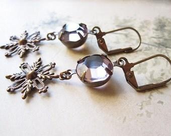Lavender Snowflake Earrings / Vintage Assemblage Jewelry