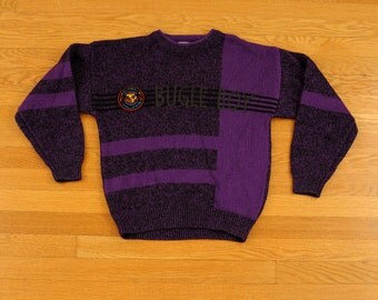 vintage Bugle Boy sweater 80s 90s Bugle Boy purple black sweater color block Global Challenge 1980 1990 small XS