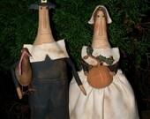 Primitive Folk Art Thanksgiving Pilgrim Stump Dolls