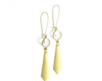Vintage// Triangle// Teardrop //Brass bohemian large triangle earrings