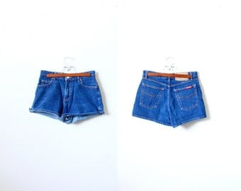 Vintage SMALL // high waisted jean shorts // Summer shorts // beach shorts // dark blue